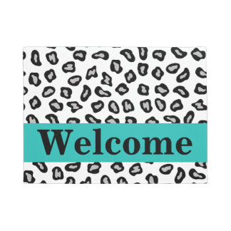 Black White Turquoise Leopard Skin Pattern Welcome Doormat