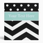 Black White Turquoise Pattern Custom Binder