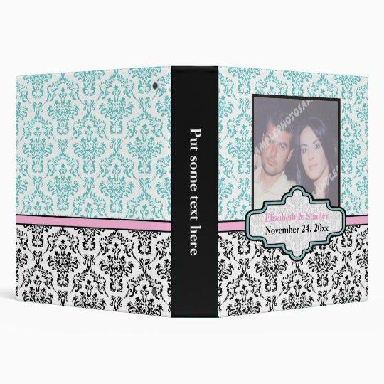 Black white, turquoise, pink damask wedding binder