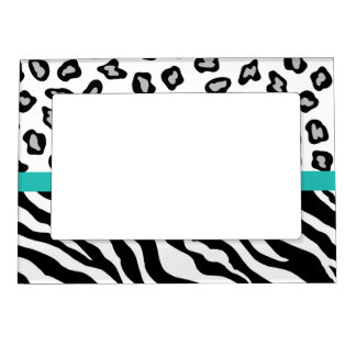 Black White Turquoise Zebra and Leopard Skin Photo Magnetic Photo Frames