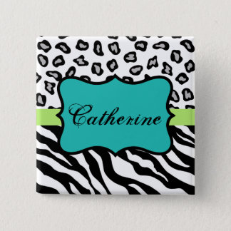 Black White Turquoise Zebra Leopard Name Badge 2 Inch Square Button