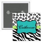 Black White Turquoise Zebra Leopard Name Badge 2 Inch Square Button