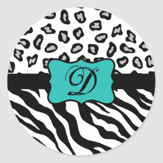 Black White Turquoise Zebra Leopard Skin Monogram Round Sticker