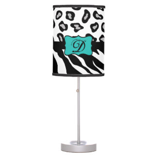 Black White Turquoise Zebra Leopard Skin Monogram Table Lamp