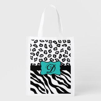 Black White Turquoise Zebra Leopard Skin Monogram Grocery Bags