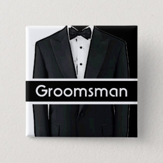 Black white tuxedo customizable groomsman button