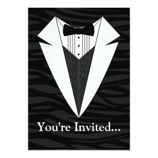 Black/White Tuxedo 5x7 Paper Invitation Card