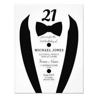 Black white Tuxedo Mens 21st Birthday Party Invite