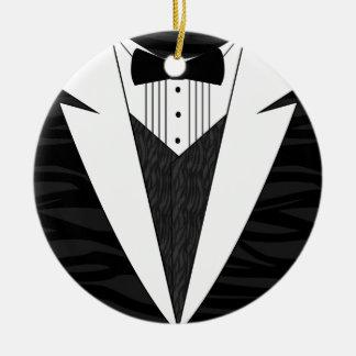 Black/White Tuxedo Round Ceramic Ornament