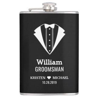 Black White Tuxedo Suit Groom Groomsman Wedding Hip Flask