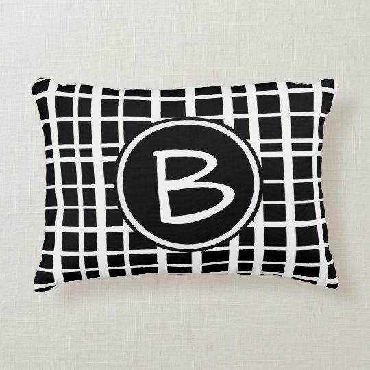 Black White Uneven Grid Pattern With Monogram Decorative Pillow