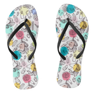 Black & White Unicorn Sketch - Colorful Polka Dots Flip Flops