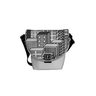 Black & White Vector Cityscape Messenger Bag