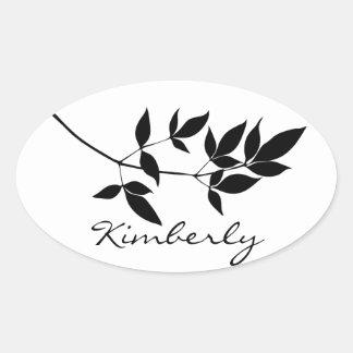 Black & white vector leaves branch silhouette oval sticker
