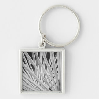Black & White view of palm tree fronds Silver-Colored Square Keychain