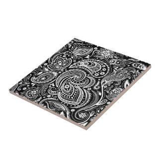 Black & White Vignette Paisley Lace Pattern Ceramic Tiles