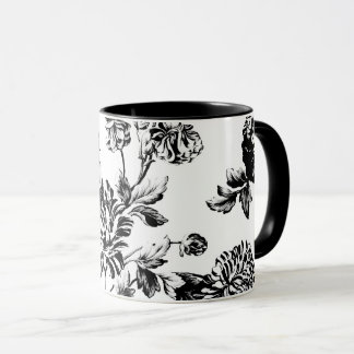 Black White Vintage Botanical Floral Toile Mug