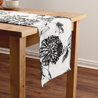 Black & White Vintage Botanical Floral Toile No.2 Medium Table Runner