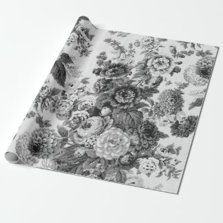 Black & White Vintage Botanical Floral Toile No.3 Wrapping Paper