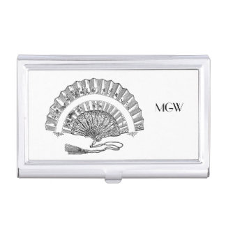Black White Vintage Fashion Woman's Fan Monogram Business Card Cases