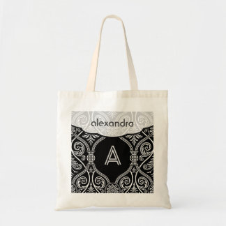 Black & White Vintage Floral Damasks Pattern Tote Bag