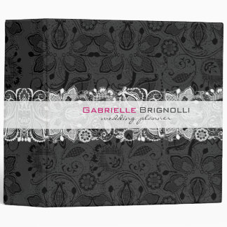 Black & White Vintage Floral Lace 3 Ring Binders