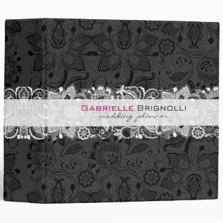 Black & White Vintage Floral Lace Binder