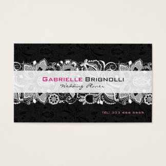 Black & White Vintage Floral Lace Business Card