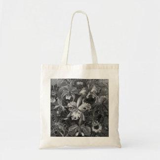 Black&White Vintage Floral Painting Budget Tote Bag