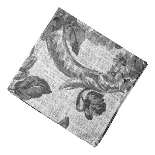 Black & White Vintage Floral Toile Fabric No.4 Bandana