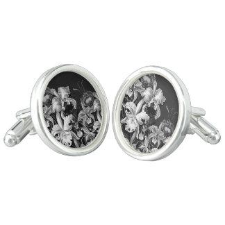 Black&White Vintage Flowers Cufflinks