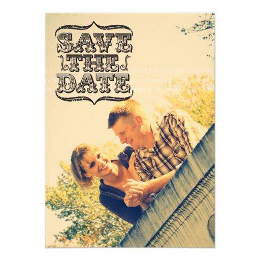 Black & White Vintage Photo Save the Date Cards Invite