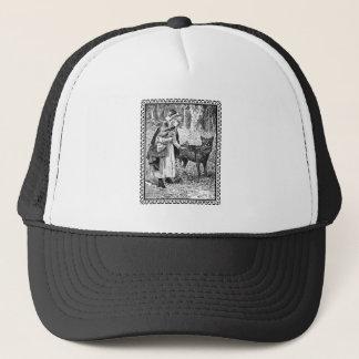 Black White Vintage Red Riding Hood Wolf in Frame Trucker Hat