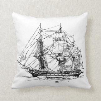 Black white Vintage sailboat home decor Throw Pillow