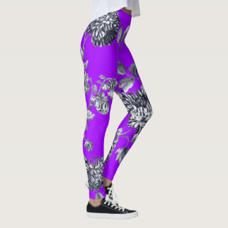 Black & White Violet Purple Botanical Floral Toile Leggings