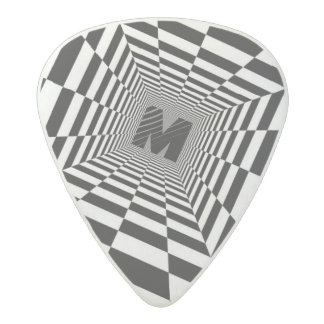 Black & White Visual Illusion, Monogram or Initial Acetal Guitar Pick