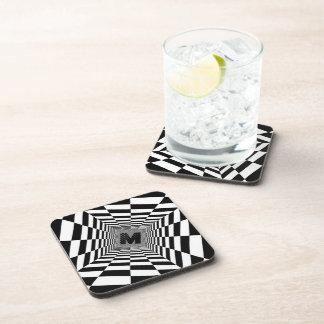 Black & White Visual Illusion, Monogram or Initial Coaster