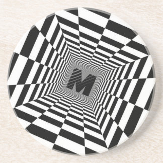 Black & White Visual Illusion, Monogram or Initial Coaster
