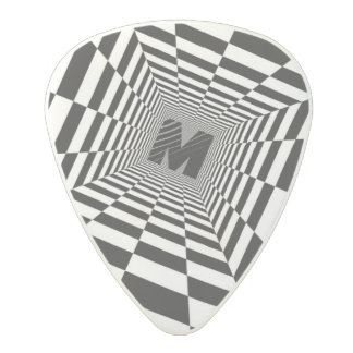 Black & White Visual Illusion, Monogram or Initial Polycarbonate Guitar Pick