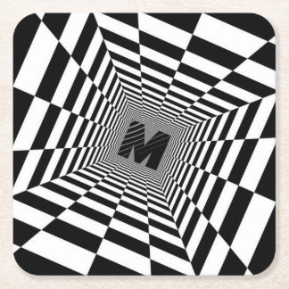 Black & White Visual Illusion, Monogram or Initial Square Paper Coaster