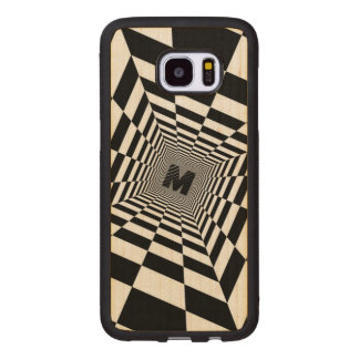 Black & White Visual Illusion, Monogram or Initial Wood Samsung Galaxy S7 Edge Case
