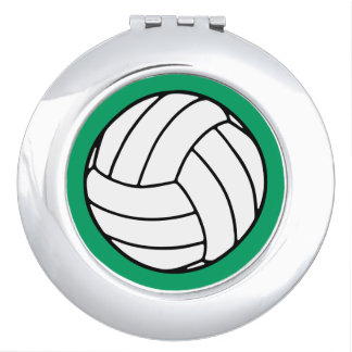 Black/White Volleyball Ball on Shamrock Green Compact Mirror
