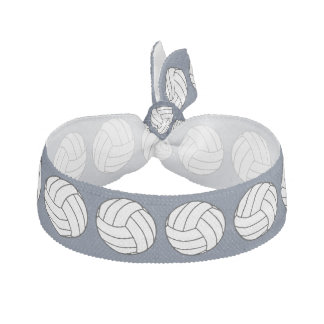 Black / White Volleyball Balls on Blue Jeans Blue Elastic Hair Tie