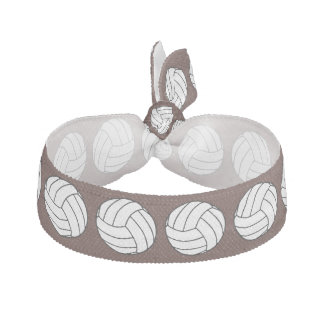 Black / White Volleyball Balls on Brown Hair Ties