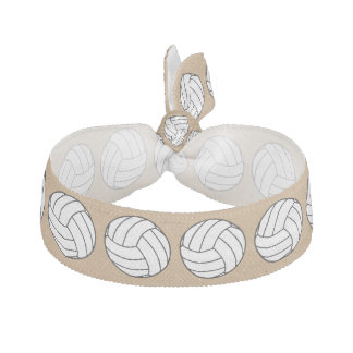 Black / White Volleyball Balls on Camel Brown Elastic Hair Ties