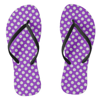 Black White Volleyball Balls on Purple Flip Flops