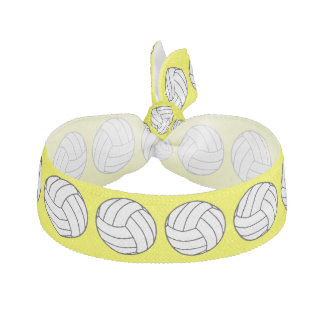 Black / White Volleyball Balls on Yellow Hair Tie