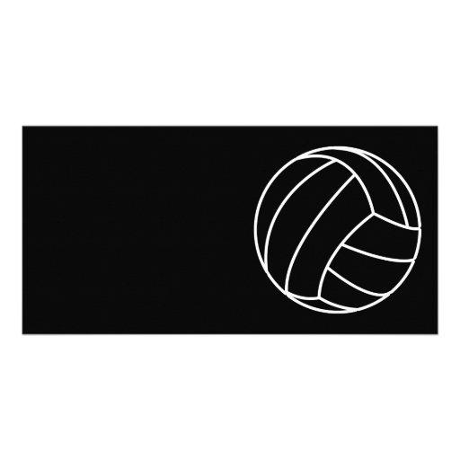 BLACK & WHITE VOLLEYBALL summer sports beach fun Photo Cards