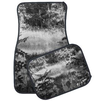 Black White Water Trees Car Floor Carpet