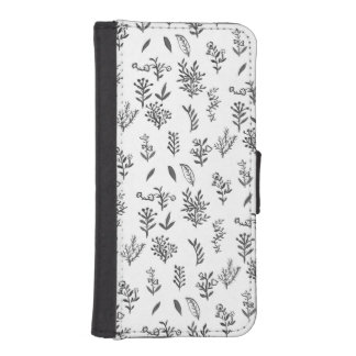 Black white watercolor flowers leaves pattern iPhone SE/5/5s wallet case